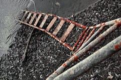 生锈的梯子向河 库存图片