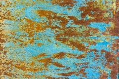 生锈的橙色蓝色金属板纹理背景 图库摄影