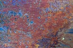 生锈的橙色蓝色金属板纹理背景 免版税图库摄影