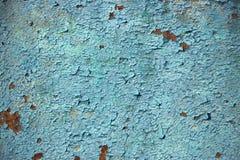 生锈的橙色蓝色金属板纹理背景 免版税库存图片