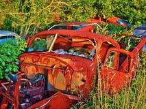 生锈的汽车在森林 免版税库存照片