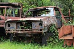 生锈的汽车击毁在森林里 库存照片