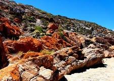 生锈的沿海岩石,约克半岛 库存图片