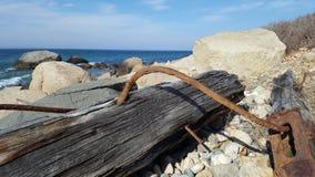 生锈的漂流木头和岩石 库存照片