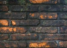 生锈的砖墙盖子有黑青苔纹理背景 免版税库存图片
