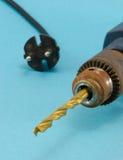 生锈的老电钻金黄位特写镜头 库存照片