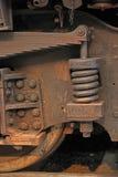 生锈的老蒸汽火车细节 图库摄影