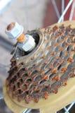 生锈的自行车齿轮 免版税库存图片
