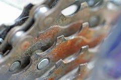 生锈的自行车齿轮 免版税库存照片