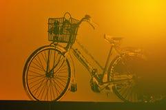 生锈的葡萄酒红色自行车 免版税库存图片