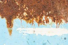 生锈的蓝色金属纹理背景 库存图片