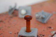 生锈的螺丝和坚果 免版税库存图片
