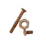 生锈的螺栓和螺丝坚果 免版税库存图片