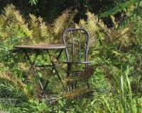 生锈的表和椅子在领域 库存图片