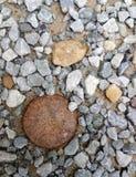 生锈的软饮料盖子和石渣 免版税库存图片