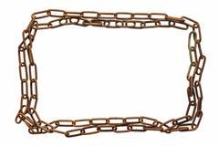 生锈的金属和老链子框架  背景查出的白色 库存照片