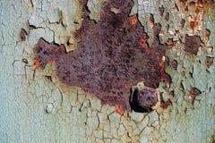 生锈的金属板料与破裂和片状油漆,与螺栓的一个金属表面,与破裂的绿色pa的抽象生锈的金属纹理的 免版税库存照片