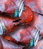 生锈的金属罐头细节摄影  免版税库存图片