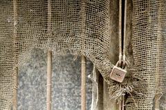生锈的金属网和生锈的挂锁10 库存图片