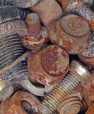生锈的金属螺栓。工业背景 库存图片