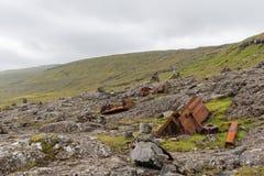 生锈的金属零件,放弃由在法罗群岛的路 图库摄影