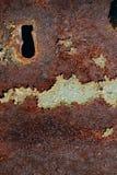 生锈的铁,在老金属su的破裂的绿色油漆纹理  库存图片