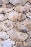 生锈的铜鱼鳞纹理 库存图片