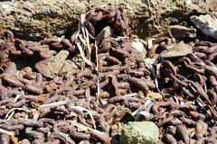 生锈的链子,矿物,抽象背景 免版税库存图片