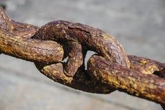 生锈的链栏杆 图库摄影