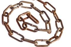 生锈的链螺旋 免版税库存照片