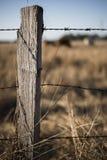 生锈的锋利的木材和金属倒钩铁丝网 库存照片