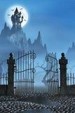 生锈的门和一座鬼的黑暗的城堡 库存图片