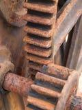 生锈的齿轮细节 库存照片