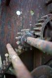 生锈的齿轮画象特写镜头 免版税库存图片