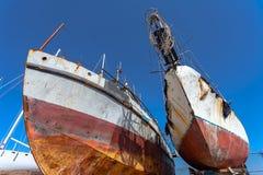 生锈的货船 库存图片
