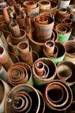 生锈磁道的管道 库存图片