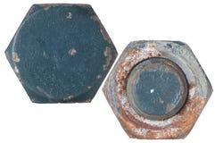 生锈螺栓的螺母 库存照片