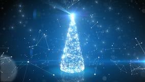 生长在与链接和连接的抽象网际空间的未来派蓝色数字圣诞树 闪烁的光 影视素材