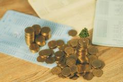 生长在堆的树金黄硬币和帐薄或者信用推车、成长企业财务投资和公司社交 库存照片