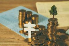 生长在堆的树金黄硬币和帐薄或者信用推车、成长企业财务投资和公司社交 免版税库存照片