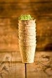 生长在生物可分解的泥炭沼罐的盆的幼木 免版税库存图片