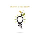 生长在电灯泡商标里面的植物 免版税库存图片