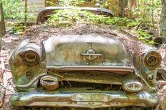 生长在老Oldsmobile的杂草 图库摄影