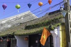 在hoi-an屋顶的草和青苔 库存图片