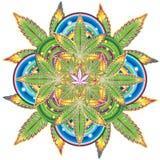生长大麻叶子万花筒标志  免版税图库摄影