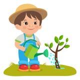 生长年轻花匠 有喷壶的逗人喜爱的动画片男孩 工作在庭院里的年轻农夫 免版税库存图片