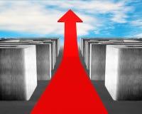 生长红色箭头通过3d混凝土迷宫 免版税库存图片