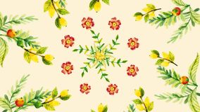 生长花的动画,花卉背景,开花的花,植物的样式 与生长的装饰转折 库存例证