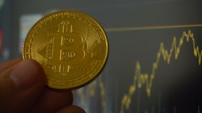 生长bitcoin硬币在人的手上在贸易的终端对面的 影视素材