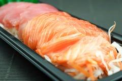 生鱼片三文鱼和金枪鱼 库存照片